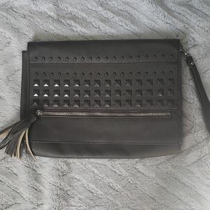 Cesca large gray envelope clutch purse wristlet